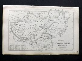 Cornwell & Dower 1849 Antique Map. Chinese Empire and Japan. China